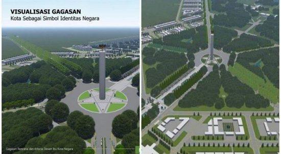 maket salah satu desain ibu kota baru ri