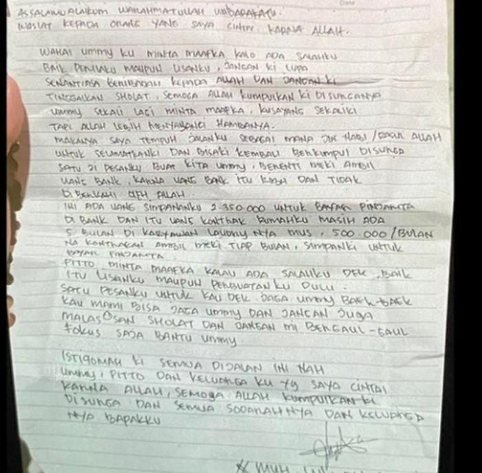 surat wasiat pelaku bom bunuh diri di depan gereja katedral makassar berinisial l 26 dok istimewa